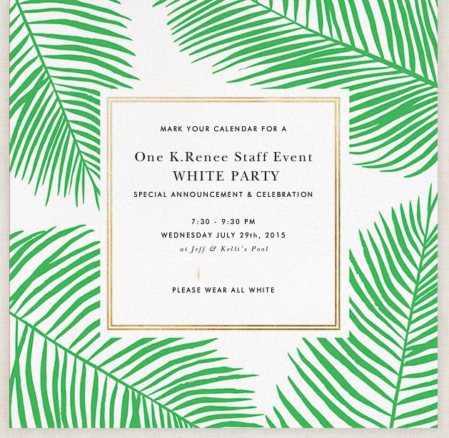 a white party to remember, Party invitations